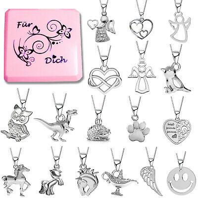 Halskette mit Anhänger Pferd Herz Kette 925 echt Silber für Kinder Mädchen Damen (Kind Halskette)