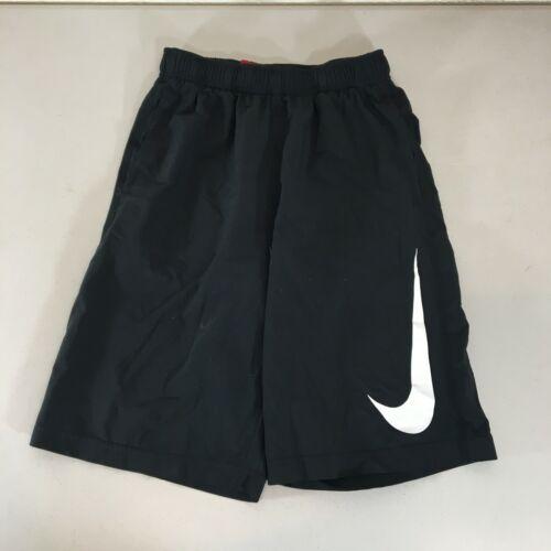 Nike Boys Shorts Large Fly Training Dri Fit Black Big Swoosh Linerless Pull On