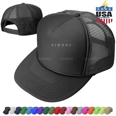 Trucker Hat Foam Mesh Baseball Cap Adjustable Snapback Solid Plain Men Hats Flat