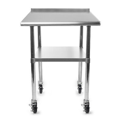 Kitchen Restaurant Stainless Prep Table With Backsplash W 4 Casters - 24 X 30