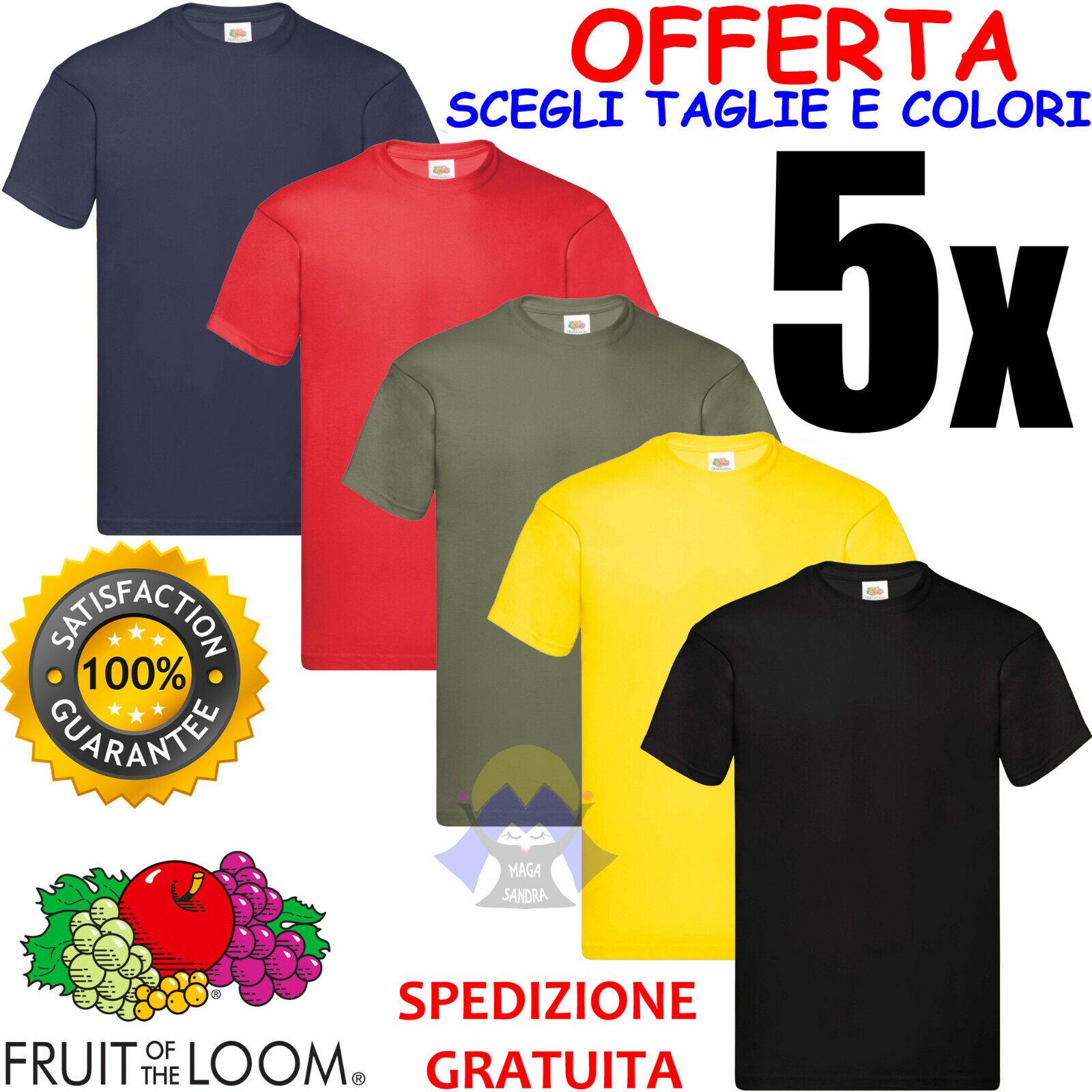 SET di 5 T-Shirt FRUIT OF THE LOOM Cotone COLORATE Maglia MANICHE CORTE da UOMO