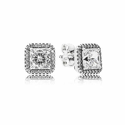 New Authentic Pandora Silver Timeless Elegance Stud Earrings Clear CZ #290591CZ