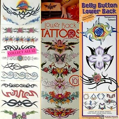 BODY ART Temporary Tattoos-Armband, LowerBack, Belly Button, Foot, Nail NEW -