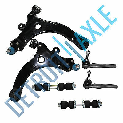 6pc Kit - 2 Front Lower Control Arm & Ball Joint + 2 Tie Rod + 2 Sway Bar Link