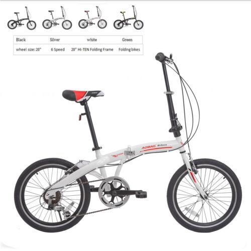 "20"" Folding Bike 6 Speed Foldable Bicycle Shimano School Spo"
