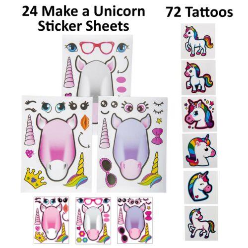 72 Unicorn Tattoos & 24 Sticker Sheets Girls Party Favors Easter Basket Stuffers