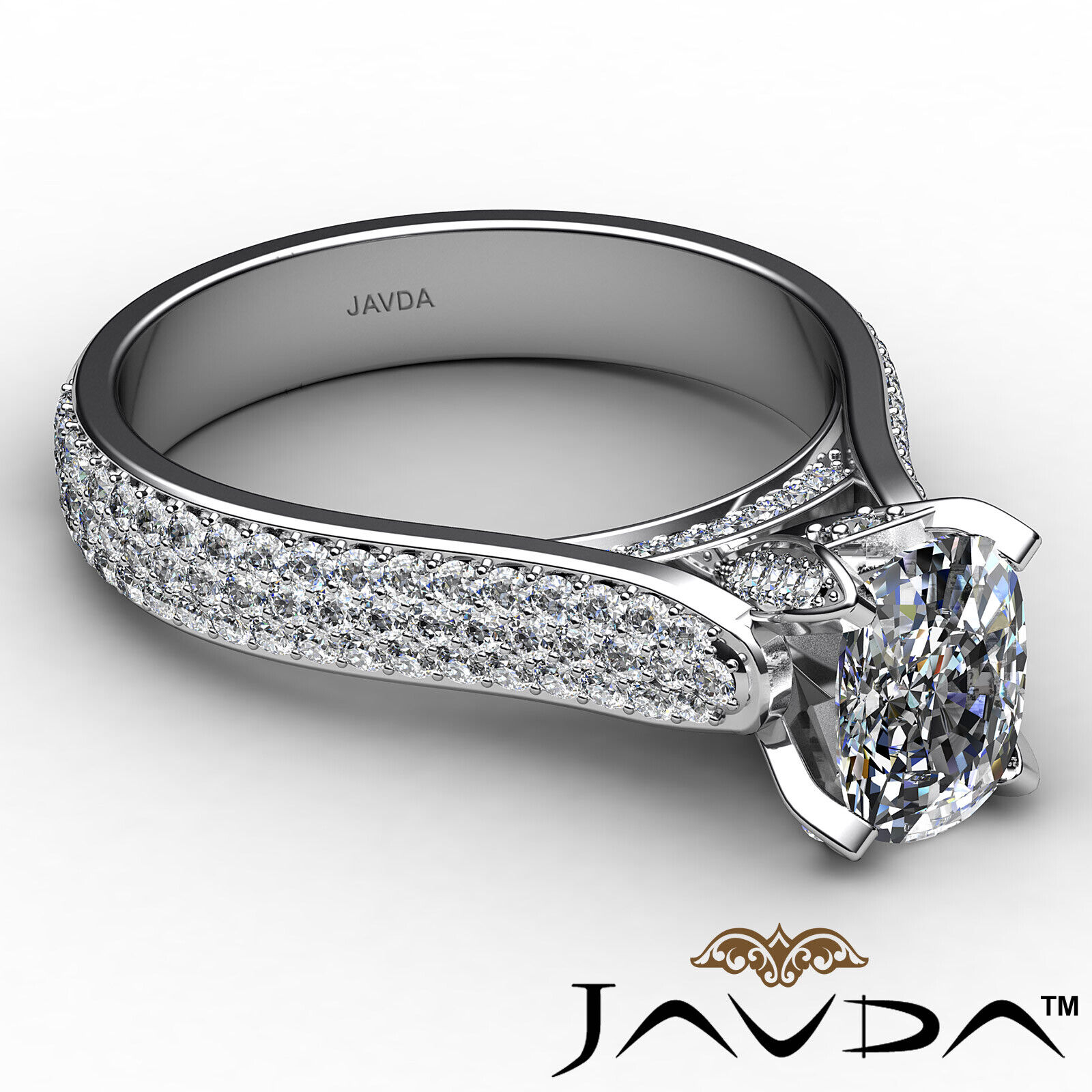 3 Row Shank Cushion Diamond Engagement Ring GIA E Color & SI1 clarity 2.35 ctw 6