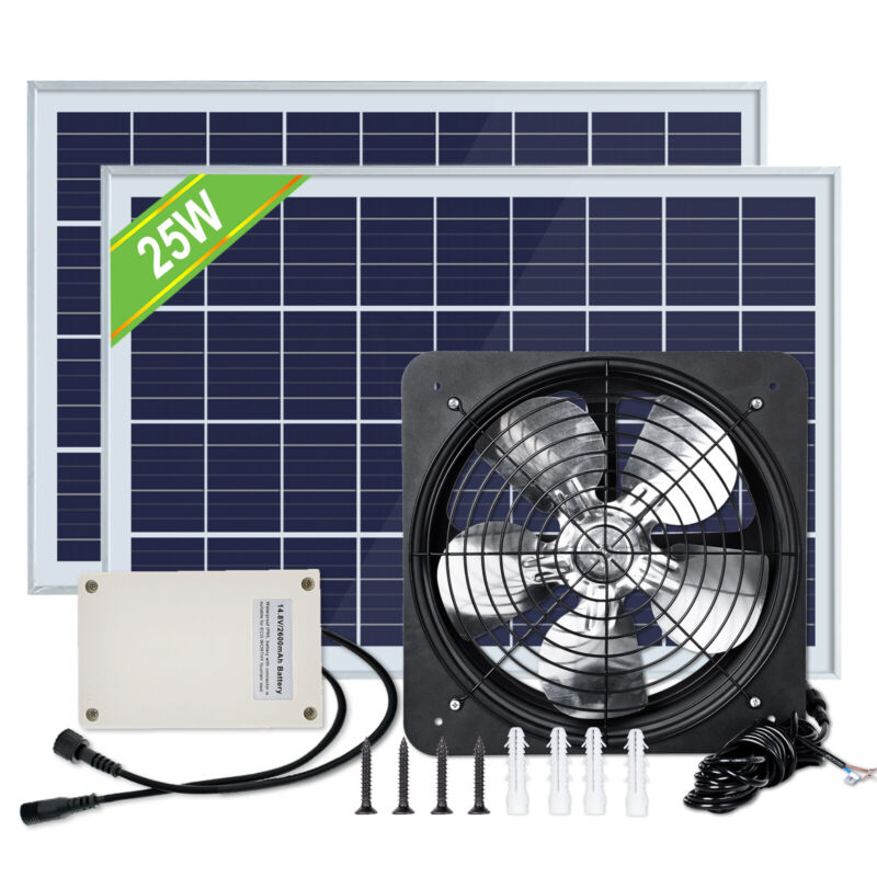 3000 CFM Commercial Industrial Extractor Fan Ventilation Fan+Solar Battery Panel