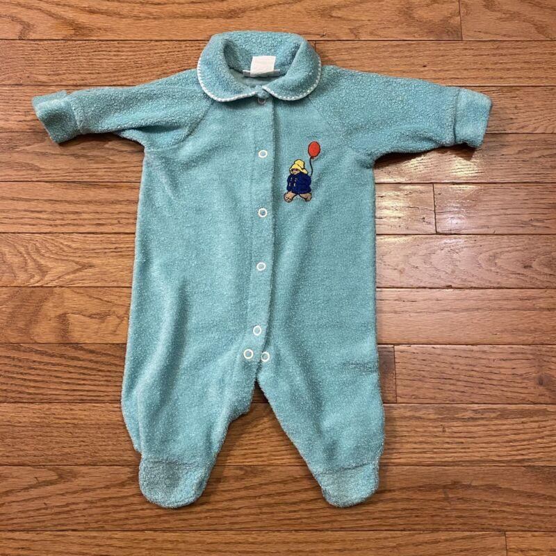 Vintage Paddington Bear Terry Cloth Creeper Layette Size 3 Months Green