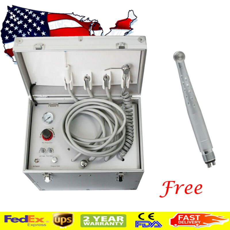 Portable Dental Delivery Unit + Air Compressor +Suction System + Triplex Syringe