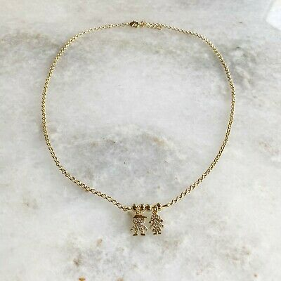 18K Gold Filled Mothers Necklace with Boy and Girl Charms, Mothers Gift