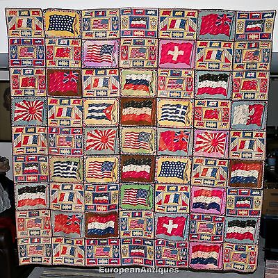 """Antique 1900-1920's Tobacco Cigar Felt World Flag Quilt Blanket Vintage 68""""x72"""""""