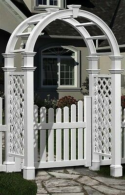 New England Arbors Decorative Nantucket Legacy Garden Patio Arch w/ GATE
