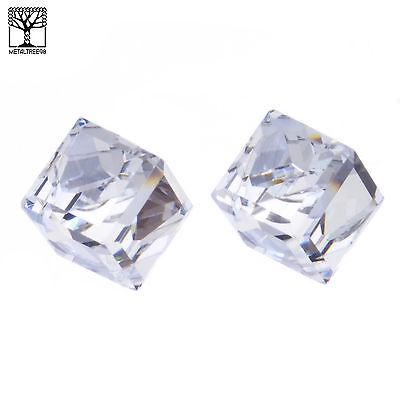 Men's Women's Iced Crystal 3D Cube Push Back Post Earrings Clear  ()