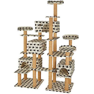 XXL Tiragraffi per gatti 214 cm gatto albero graffiatoio beige/impronte di zampe