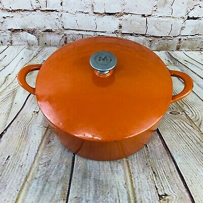 vintage dutch oven Flame Orange Enamel Cast Iron