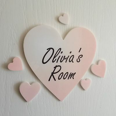 Boy Name Plaque (Personalised Colour Heart Door Name Plaque Boy or Girls Bedroom Room Sign )