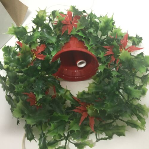 Vintage Beacon Christmas Electric Wreath With Light Up Bell