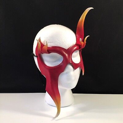 Mardi Gras Mask FIRE Carnival Masquerade Halloween LEATHER Mask Demon ANY COLOR (Halloween Mask Coloring)