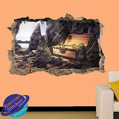 TREASURE PIRATE ISLAND CAVE 3D SMASHED WALL STICKER ROOM DECOR DECAL MURAL YQ0 ()