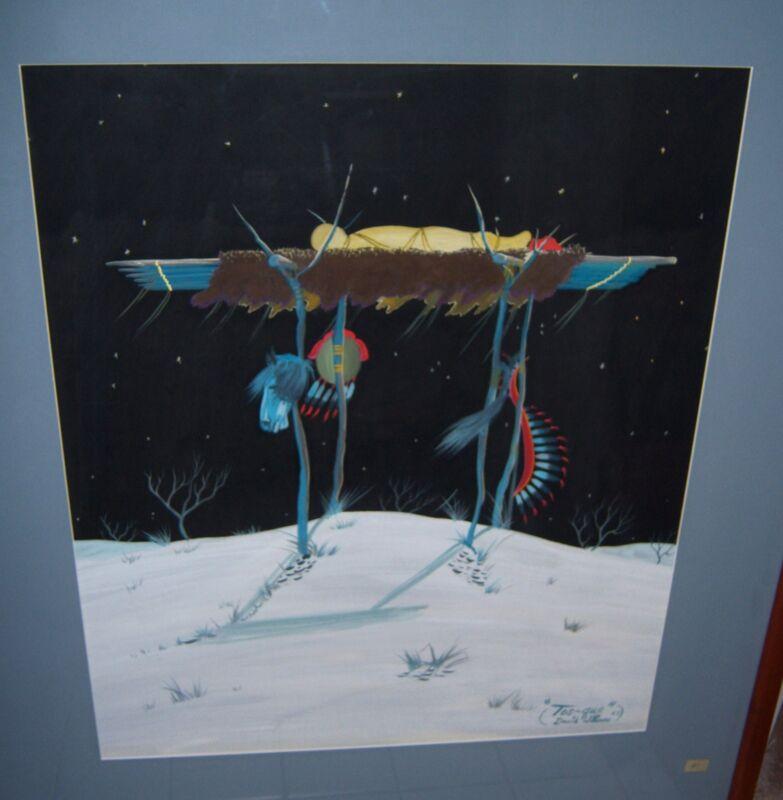 "DAVID WILLIAMS TOS-QUE Original Tempera Painting ""BURIAL AT NIGHT"" Art"