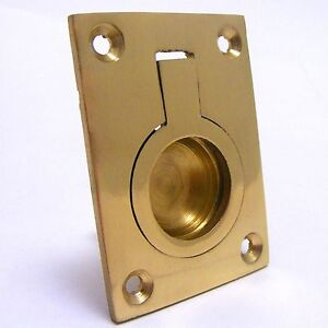 SOLID BRASS FLUSH FIT RING PULL HANDLE Cabinet Cupboard Furniture Recessed NEW