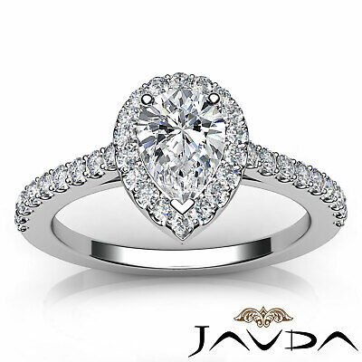 Shared Prong Pear Shape Diamond Engagement Ring GIA Certified F Color VS2 1 Ct 3