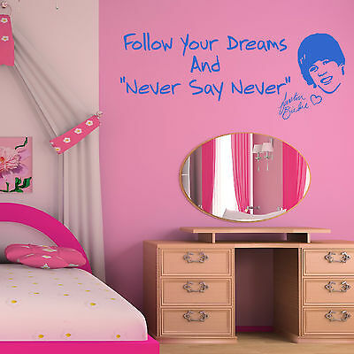 JUSTIN BEIBER Follow Your Dreams and Never Say Never VINYL WALL ART