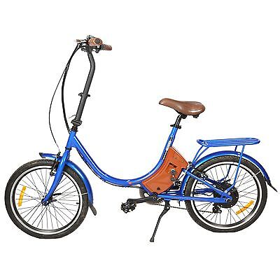 """New 20"""" Foldable Electric Bicycle E Bike Outdoor pedal-assist  24V 250W blue"""