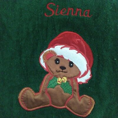 Adorable Christmas Bath Towel w/Baby Bear & Holly Berry Monogrammed Sienna for sale  Shipping to India