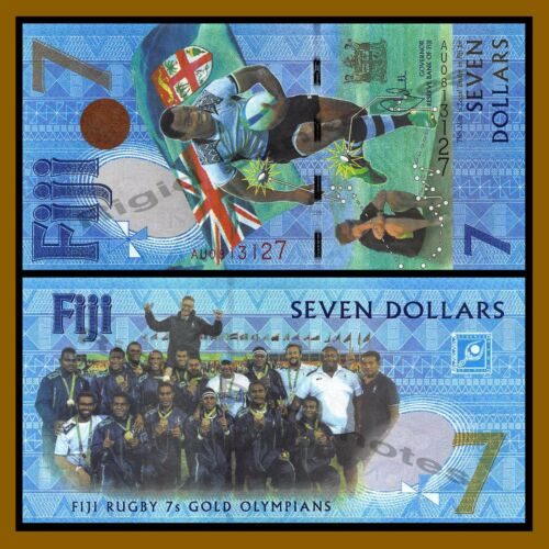 Fiji 7 Dollars, 2016/17, P-120 UNC,Rugby 7 Gold Olympians Summer Olympics Brazil