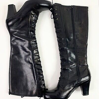 Clarks Active Air Boots 8 Black Leather Victorian Steampunk Lace Up Heel Cosplay