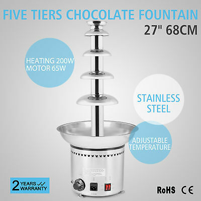 "New 27"" 68cm 5Tiers Stainless Commercial Hotel Chocolate Fountain High Quality"