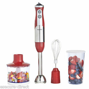 VonShef Hand Blender Mixer Food Processor Red Egg Whisk Beater 800W Juicer