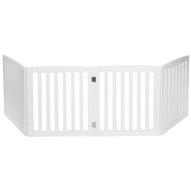 "Dog Gate Pet Fence Baby Playpen Folding Wood Barrier Free Standing 24"" White"