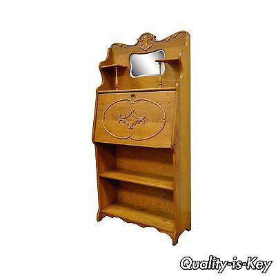 Antique Victorian Golden Oak Slant Drop Front Secretary Desk Bookcase w/ Mirror, used for sale  Philadelphia