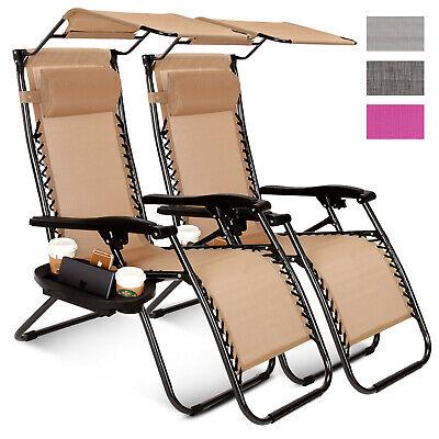 - 2 Pcs Zero Gravity Folding Lounge Beach Chairs W/Canopy Magazine Cup Holder