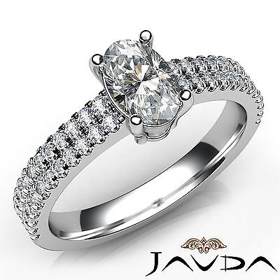 Oval Diamond Engagement French Setting Ring Certified by GIA E Color VVS2 1.21Ct