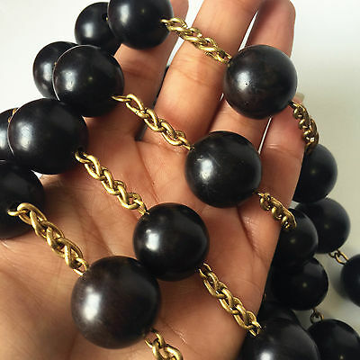 Large 20mm Black Ebony Wooded beads Wall Rosary Catholic crucifix cross Gift box Black Ebony Gift Box