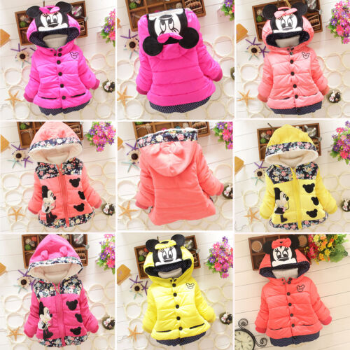 Toddler Kids Girl Mickey Minnie Hooded Coat Winter Warm Thic