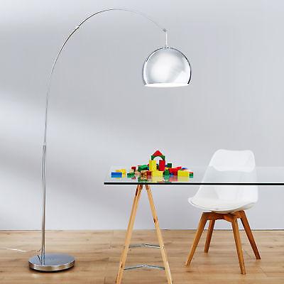 Moderne Bogenstehleuchte Bogenlampe Bogenleuchte im Lounge Design, Metall, chrom - Chrom Moderne Stehleuchte
