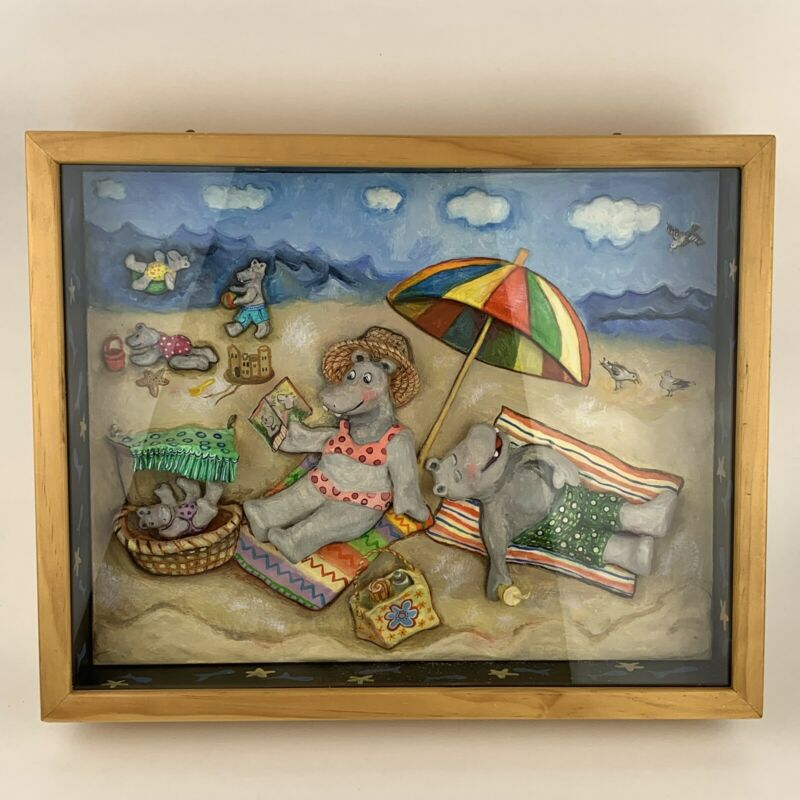 RARE Joan Gallup 3D Picture Box Raised Painting Hippo Family At The Ocean Beach
