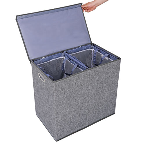 Grey Foldable Double Laundry Hamper Clothes Basket with Lid and Removable Liners Home & Garden