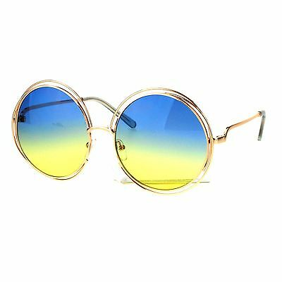Womens Oversized Sunglasses Rose Gold Metal Wire Round Frame Ombre Color (Round Rose Colored Sunglasses)