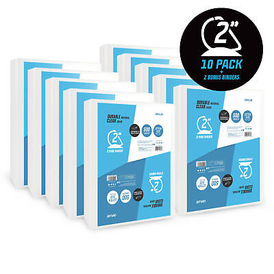 OS Plus D-Ring Durable View Binder, 2 Inch White, 10 Pack, Bonus 2 Pack included D-ring View Binder 2in Ring