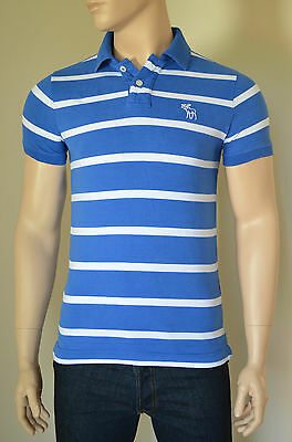 NEW Abercrombie & Fitch Giant Mountain Polo Shirt Blue Stripe M RRP...