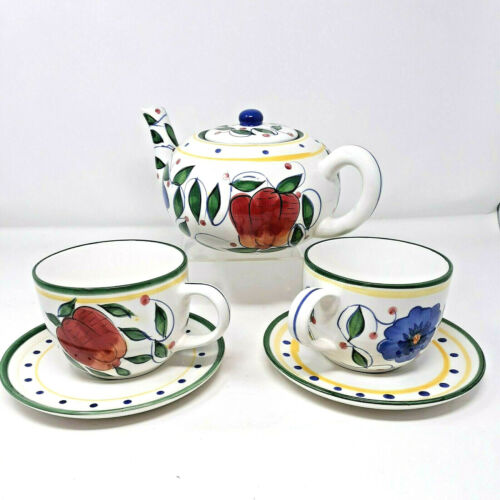 Ceramic Painted Fruit Teapot and Over-sized Tea/Soup Mugs and Saucers Jay Import