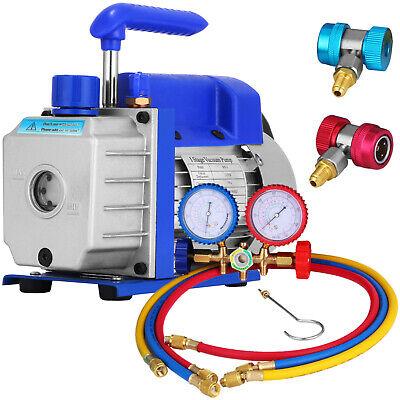 3 Cfm Air Vacuum Pump 14hp Manifold Gauge Hvac Refrigeration Kit Ac Ac