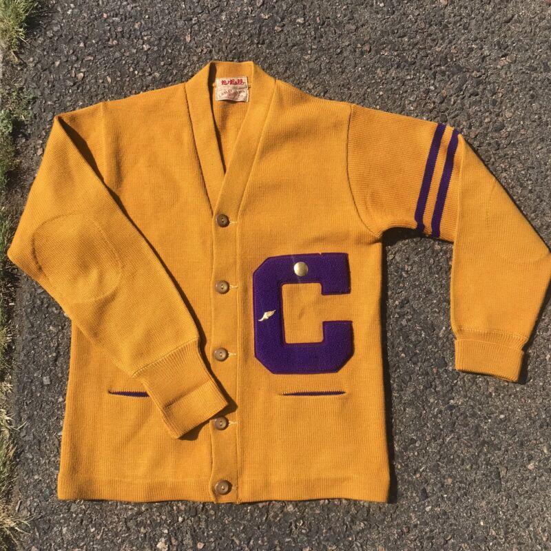 Vintage 1950's 1960's Varsity Letterman Cardigan Sweater School College Wool