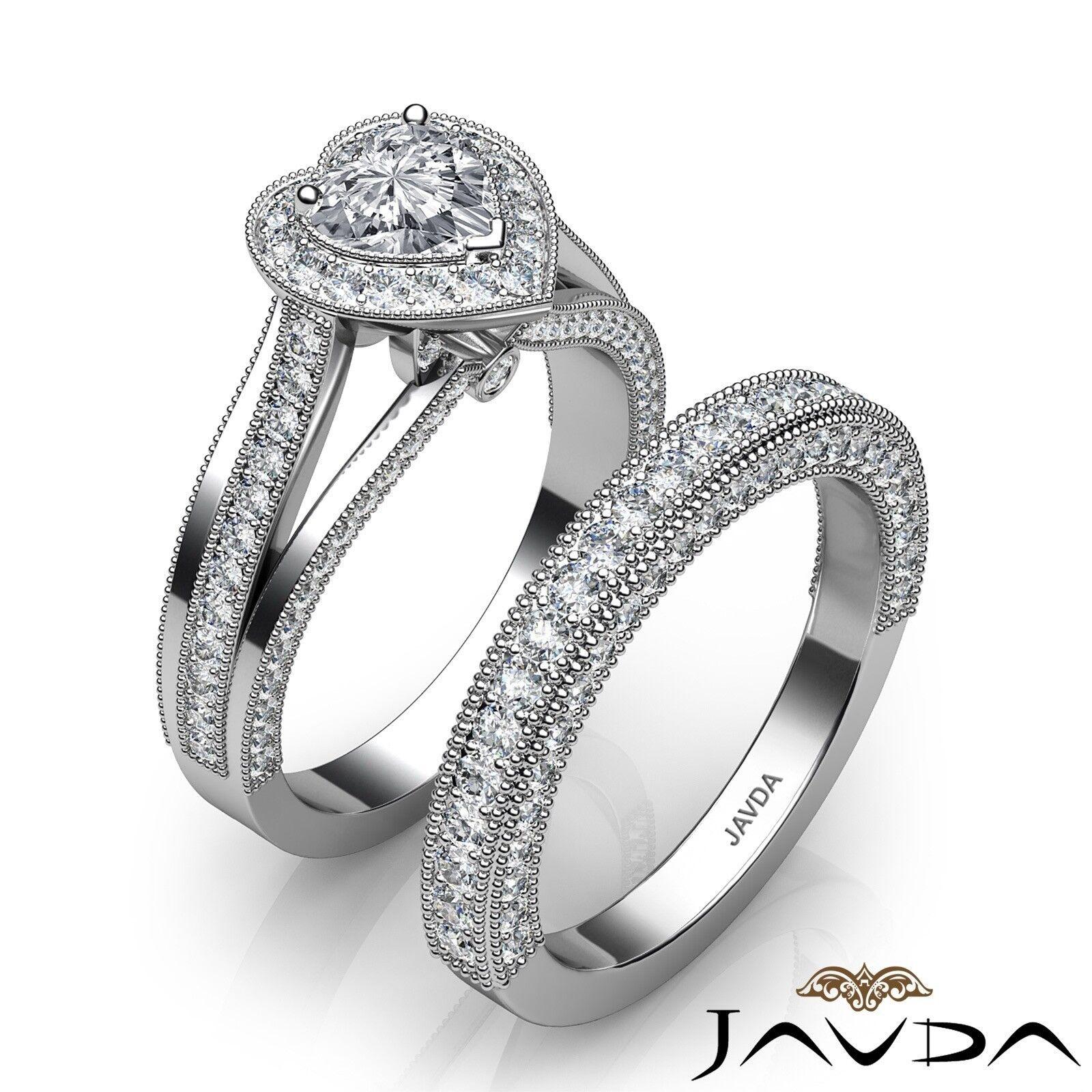 2.24ctw Halo Milgrain Edge Bridal Heart Diamond Engagement Ring GIA F-VS1  Gold 1